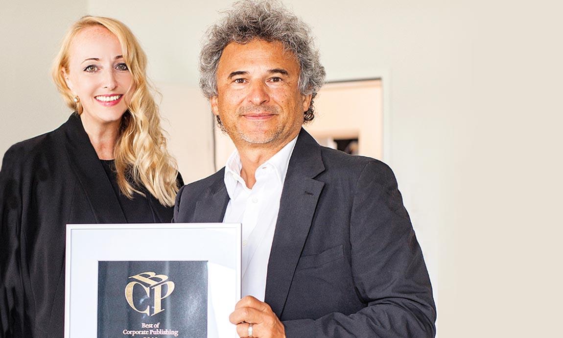Awards: Eva Engel & Roland Pircher von Bauart mit dem Best of Corporate Publishing 2014 Gold Award.