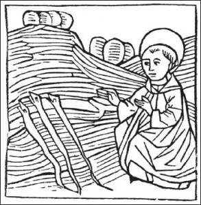 St. Pirminius als Schlangenvertreiber, Holzschnitt, Nürnberg, 1475