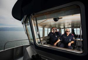 Reportage, Seepolizei, Hard am Bodensee, Fernglas See