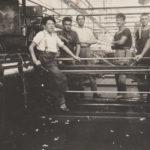 Spinnereiarbeiter in der Kammgarnspinnerei